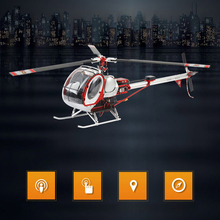 цена на 2018 GPS Smart Drone Schweizer Scale 300C Huges 6CH RC Helicopter RTF DFC Headless Helicopter GPS Drone with Flight System 2.4G