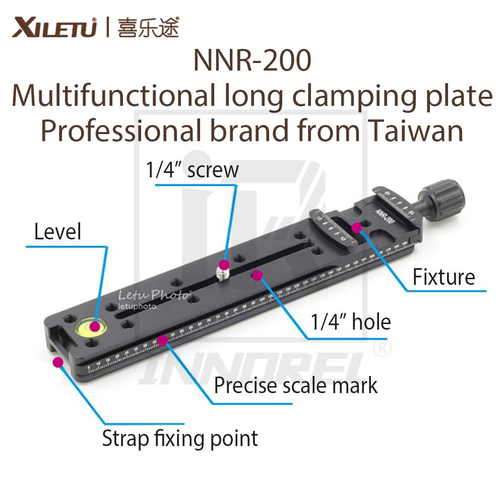 Prix pour XILETU NNR-200 Multifonctions longue plaque de serrage 200mm Nodal Slide Trépied Rail Libération Rapide Plaque Photographie Accessoires