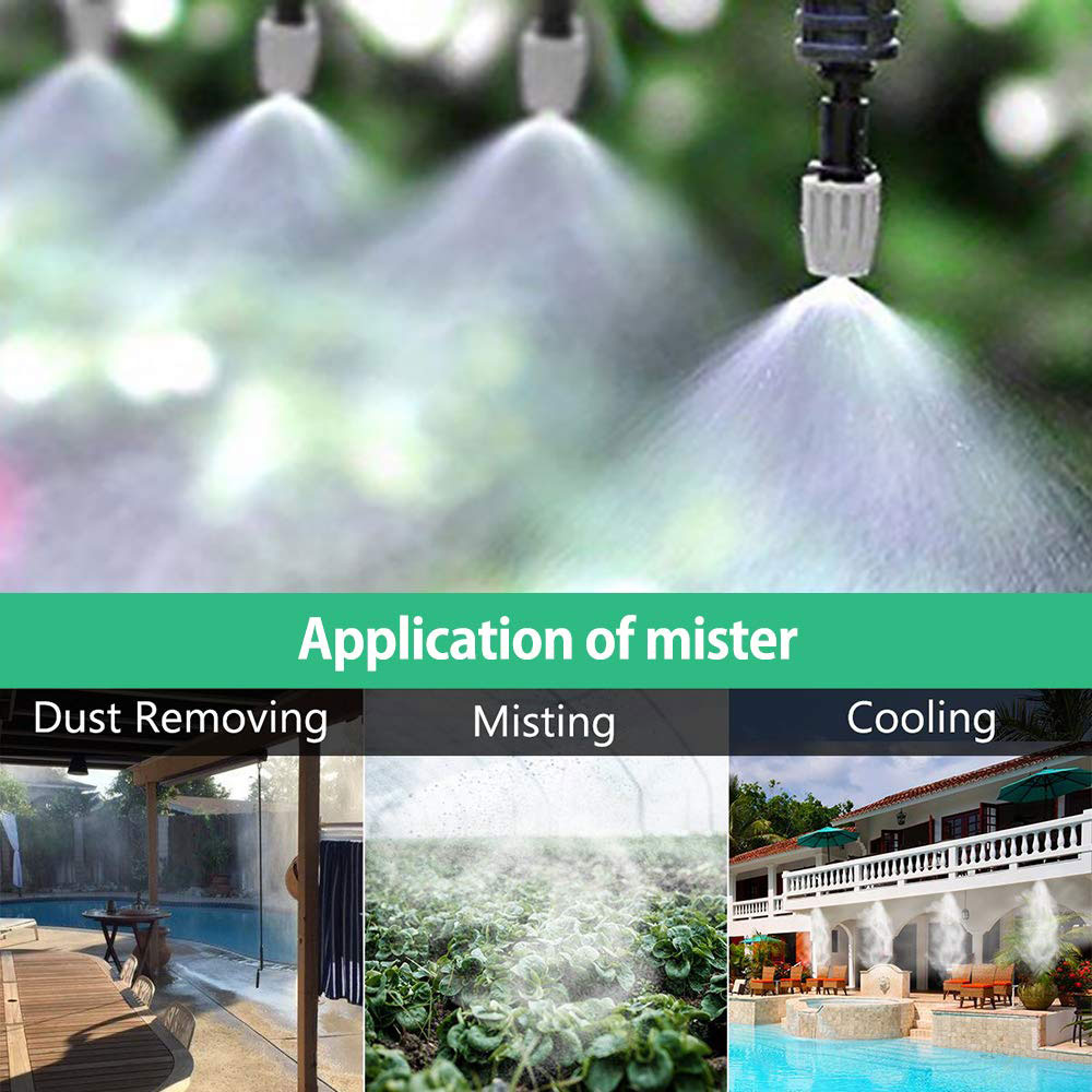 10m 20pcs Mist Sprinkler Nozzle Water Misting Cooling System Outdoor Garden Patio Greenhouse Plants Spray Hose Watering Kit in Watering Kits from Home Garden