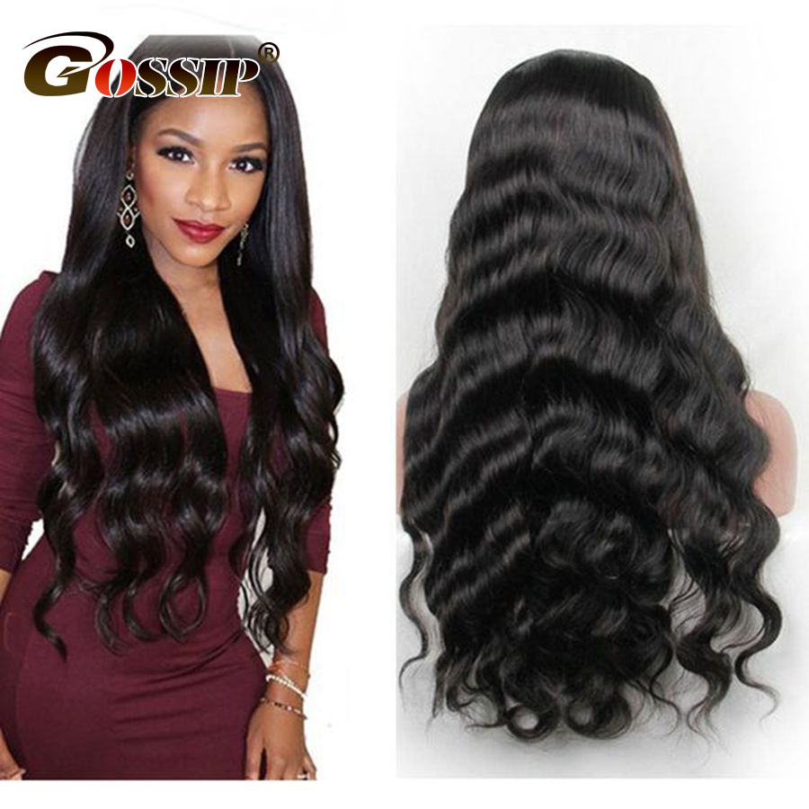 Gossip Human Hair Wigs With Baby Hair 180% Density Lace Front Wigs For Black Women Brazilian Body Wave Pre Plucked Remy Hair Wig