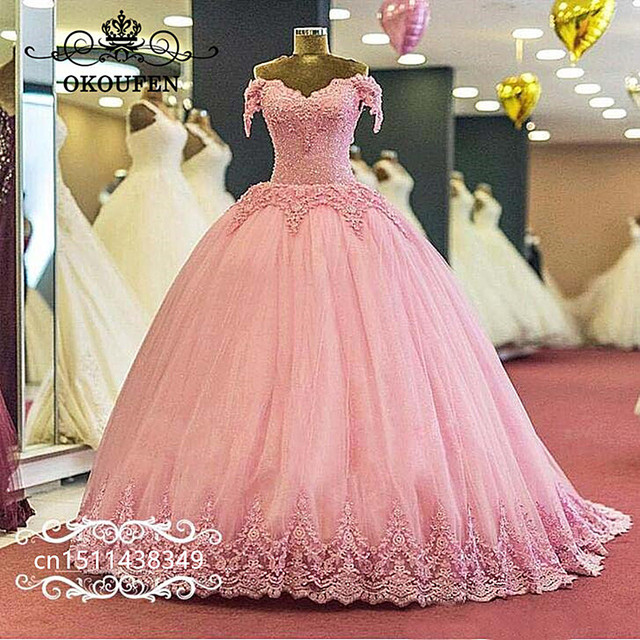 ac1222e08ee 2019 Pink Lace Quinceanera Dresses Luxury Beads 3D-Floral Appliques Off  Shoulder Ball Gown Sweet 16 Prom Dress Party For Women