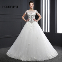 Real Sample LuxuryTulle Scoop Neck Appliques Bow Lace Up Ball Gown Long Wedding Dresses 2016 Floor