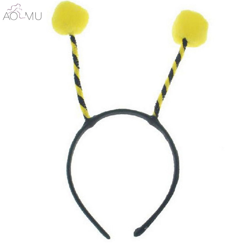 AOMU 1PC Cute Ant Headband Hairball Bee Antenna Hair Bands For Women Girls Helloween Par ...
