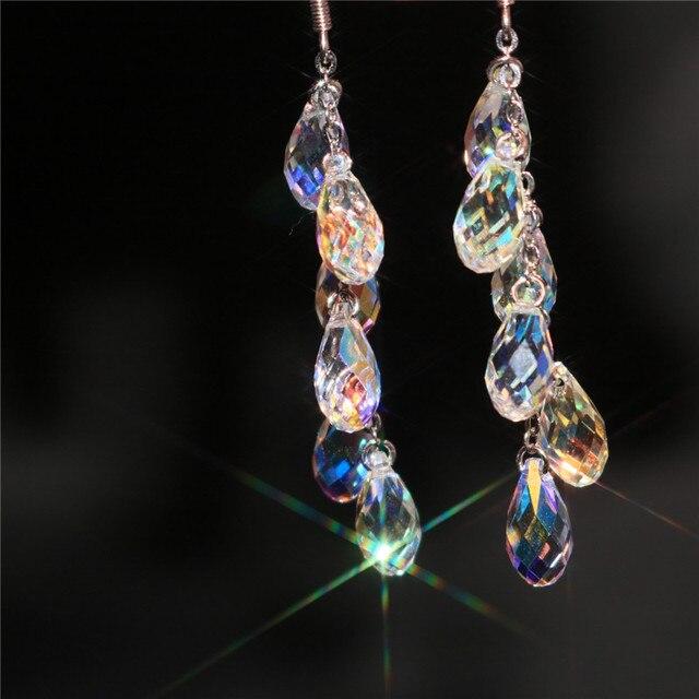 В 2016 году 925 кристалл ювелирные изделия оптом Xiangbala Стерлингового Серебра Серьги девушка долго женщина представляет новый дизайн