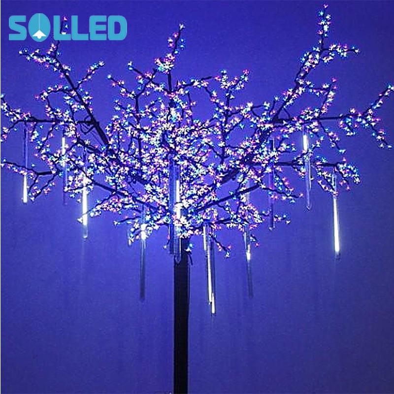 SOLLED OMGAI 8 Falling Rain Drop/icicle Snow Fall String LED Xmas Tree Cascading Light Decor (white, US plug) snow falling on cedars level 6