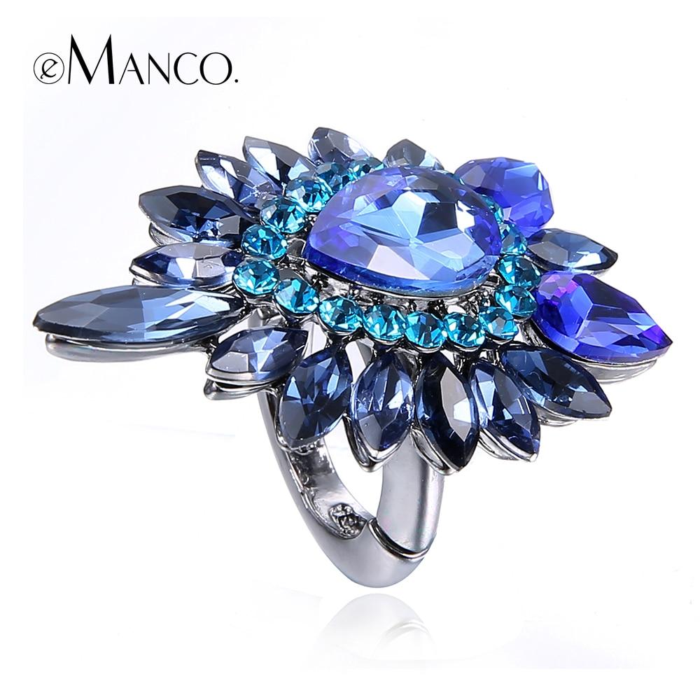 Luxury Rings Emanco Crystal Multicolor Fashion Women Big Cute RG02495 Charm Zinc-Alloy