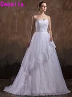 New White A Line Sweetheart Appliques Tulle Wedding Dresses Ceremony Bridal Gowns Vestidos De Novia Custom