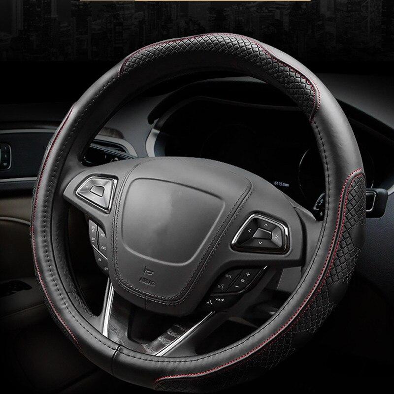 38cm Universal Carbon fiber Leather Steering Wheel Cover Auto Car Truck Black x1