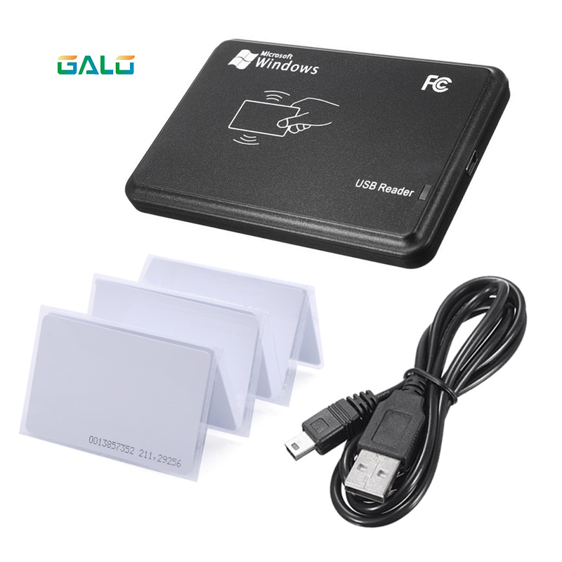 RFID Reader for Access Control 125KHz Black USB Proximity Sensor Smart rfid id Card Reader + EM4100 card Optional 125khz rfid reader usb interface usb rfid id contactless proximity smart card reader tk4100 em4100