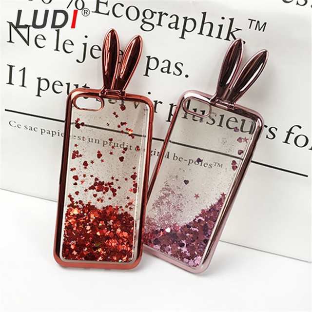 LUDI 3D Cute Rabbit Ear Stander Case For iPhone X 8 7 7plus Soft Silicon Glitter Liquid Quicksand For iPhone 6 6s 6/6splus