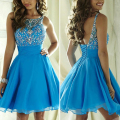 Shinny Beaded Cocktail Dresses Scoop A-Line Backless Chiffon Dresses For Party Sleeveless Lace Up Short Short Prom Dresses