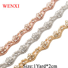 WENXI (1 YARD) Handmade Bridal Sash Beaded Sewing Rose Gold Crystal Rhinestone  Applique Trim Iron On For Wedding Dress WX810 94d35efd520e
