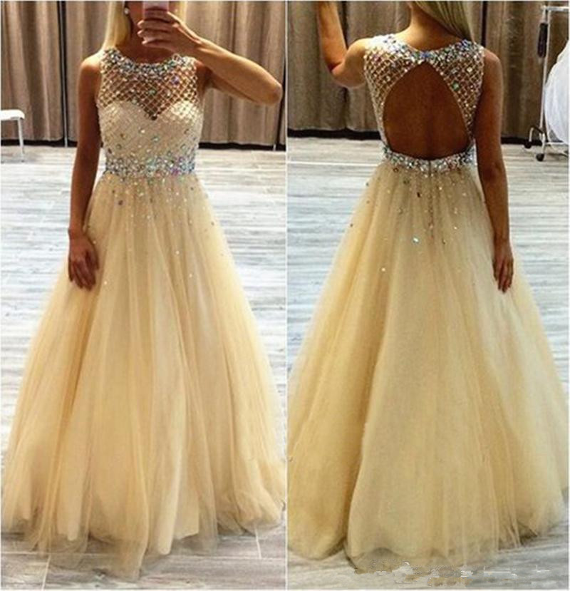 Crystals Sheer Neck Open Back Prom Dresses Champagne Tulle  Long A Line Floor Length Homecoming Dress Long