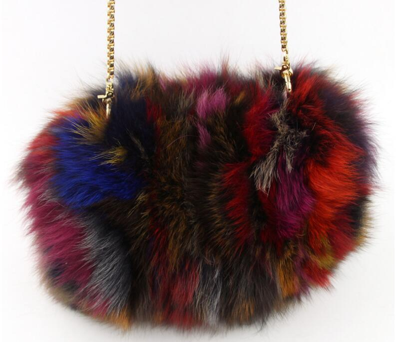 2017 real fox fur lady's small flap bag mini chain messenger bag one shoulder cross body bag cute fur bag korean style mini gray shaggy deer pvc quilted chain bag with cover real picture