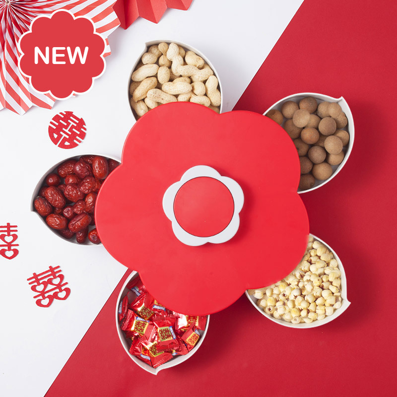 New Red Rotary Storage Box Flower Design Snack Candy Box Jewelry Organizer Cosmetic Solid Fruit Storage Box Festival Decoration|Storage Boxes & Bins| |  - title=