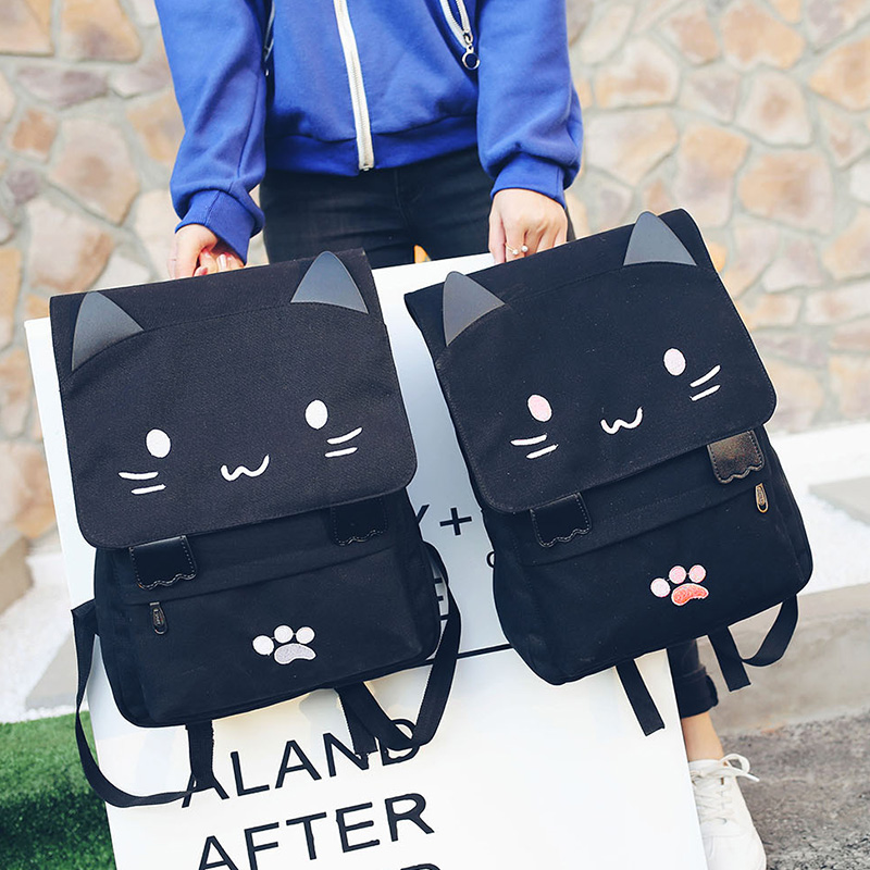 School Bags For Gir 2017 Women Cute Backpack Cat Kitty Printed Backpack Youth Students Schoolbag Girls