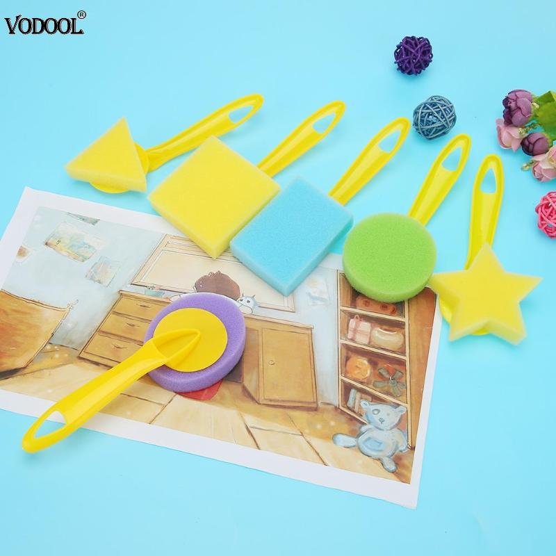 6pcs/set Geometric Sponge Brushes Seal Painting Brush Kids Graffiti Pigment Art Tools Child Early Painting Supplies Gift
