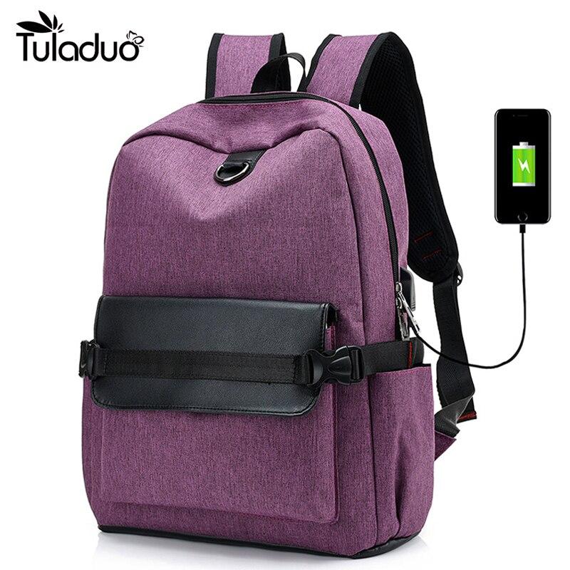 2017 New Backpack Women Purple USB Charging Backpacks Men Gray Bag Headphone Hole Daypack Preppy Style for Teenage Rucksack studio m new women medium m gray purple striped sharkbite tunic sweater $78 065