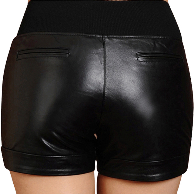 Autumn Winter Leather Shorts Women Genuine Sheepskin Vintage Casual Shorts Sexy Ladies Plus Size Black Genuine Leather Shorts
