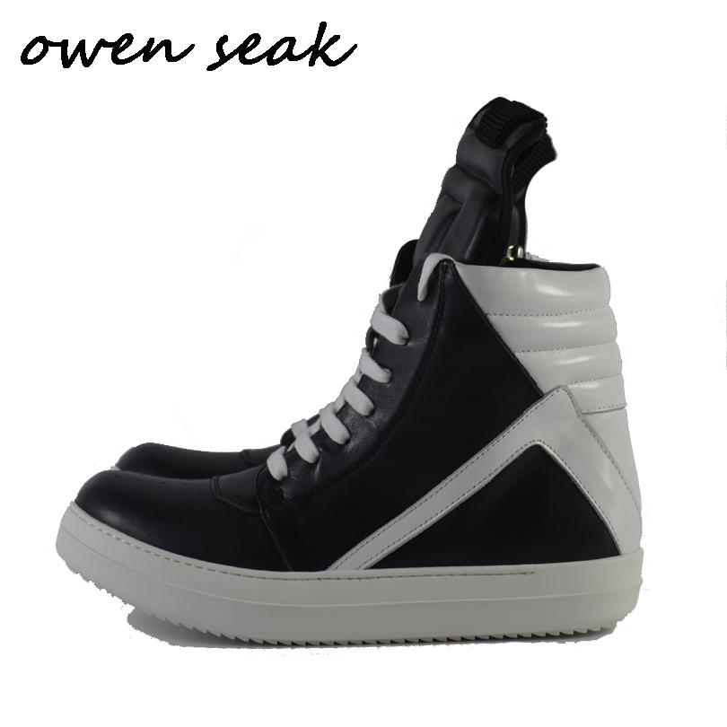 Owen Seak Men Shoes High TOP Ankle Boots Genuine Leather Sneaker Luxury Trainers Boots Casual Lace
