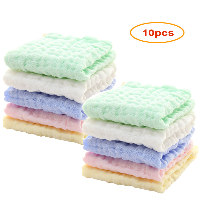 10 pcs/lot Baby Muslin Washcloths Natural Muslin Cotton Baby Wipes Soft Newborn Baby Face Towel and Muslin Washcloth Baby Towel