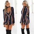 2016 New Women Sexy Deep V Neck Striped VTG High Waist Pleated Summer Career Office Short Jumpsuit Rompers Playsuit Overalls