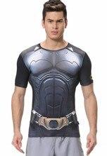 Red Plume Men's Compression Tight Fitness Shirt,  Superhero Batman Armor Sports T-shirt