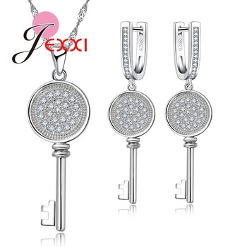 Round Pan Design Silver Color Women Jewelry Set With 1pc Necklace Chain+1pair Earrings High Quality Crystal Decoration