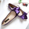 Free shipping new purple shoes pointed female flat shoes sweet bow shallow mouth large size shoes