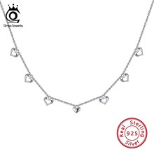 ORSA JEWELS 925 Sterling Silver Pendant Necklaces For Women Heart Shape Silver Chokers Necklace Wedding Girl Jewelry Gift OSN120 цена 2017