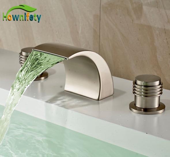 New Waterfall LED Brushed Nickel Bathroom Basin Faucet Three Holes Dual Handles Mixer Tap led wall mounted waterfall bathroom basin faucet 3 holes dual handles mixer tap