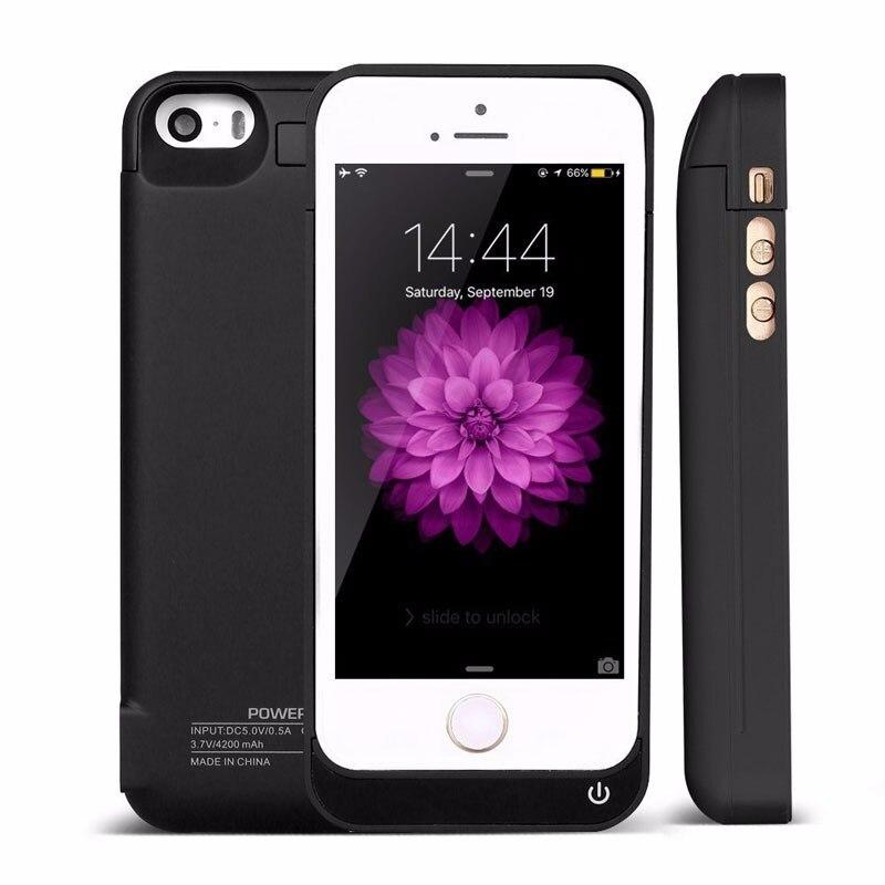 imágenes para 4200 mah caso externo de carga para apple iphone 5 5s 5c se cubierta banco de la energía del cargador de batería recargable para iphone 5 5s 5c