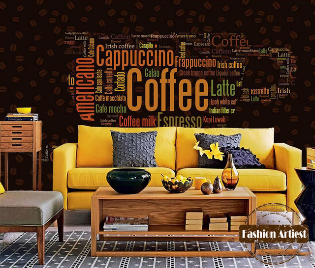 custom vintage coffee wallpaper mural coffee type letter coffee cup tv sofa bedroom living room cafe - The Living Room Cafe