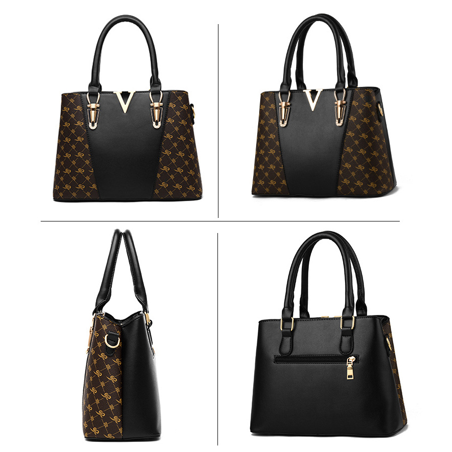 Image 2 - 2PCS Women Bags Set Leather Handbag Women Handbags Designer  Ladies Tote Shoulder Bag for Women Luxury V Bags Female sac a  mainTop-Handle Bags