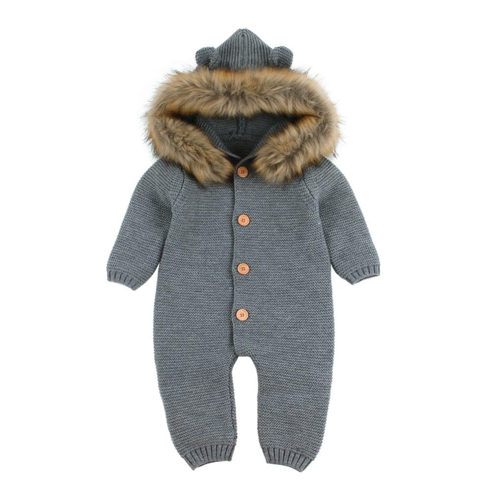 Newborn Infant Baby Boy Girl Knitted Winter Romper Jumpsuit Outfits Clothes Wholesale&dropshipping Terno De Escalada#30 Mother & Kids