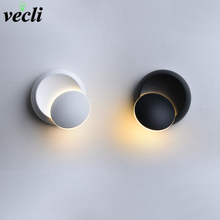 LED Wall Lamps Black White 90-260V Modern Wall Light Indoor Led Wall Light Bedroom decorative Rotatable 5W Led Sconce