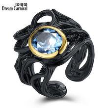 Женское Винтажное кольцо dreamcarnival 1989 черного и золотого
