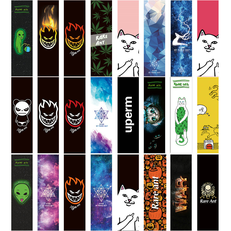 1pc 84 * 23cm Skateboard Sandpaper Sticker Perforert Skateboarddeck Grip Tape Double Rocker Dekk Sandpapir Fish Board Grip Tape