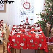 OurWarm Santa Claus Christmas Table Cloth Cover 175x145cm Tree Printed Dining New Year Decoration for Home