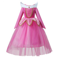 3 10Y Girls Sleeping Beauty Princess Cosplay Party Dresses Children Long Sleeve Aurora Kids Tutu DressUp