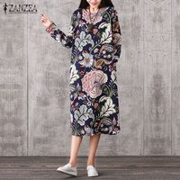 ZANZEA Vintage Women Pullover Loose Dress Casual Long Sleeve O Neck Dresses Robe Cotton Spring Autumn