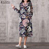 ZANZEA Vintage Women Pullover Loose Dress Casual Long Sleeve O Neck Dresses Robe Cotton Spring Autumn