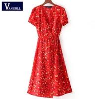 여성 v 넥 꽃 패턴 인쇄 미디 드레스 넥타이 활 띠 크로스 디자인 짧은 소매 여성 레트로 여름 드레스 vestidos mujer