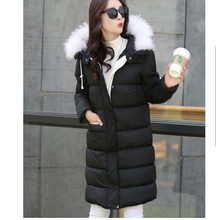 Korea New Fashion Women Winter Down jacket Fur collar Hooded Slim Big yards Long Coat Leisure Thick Super Warm Cotton Coat G2265
