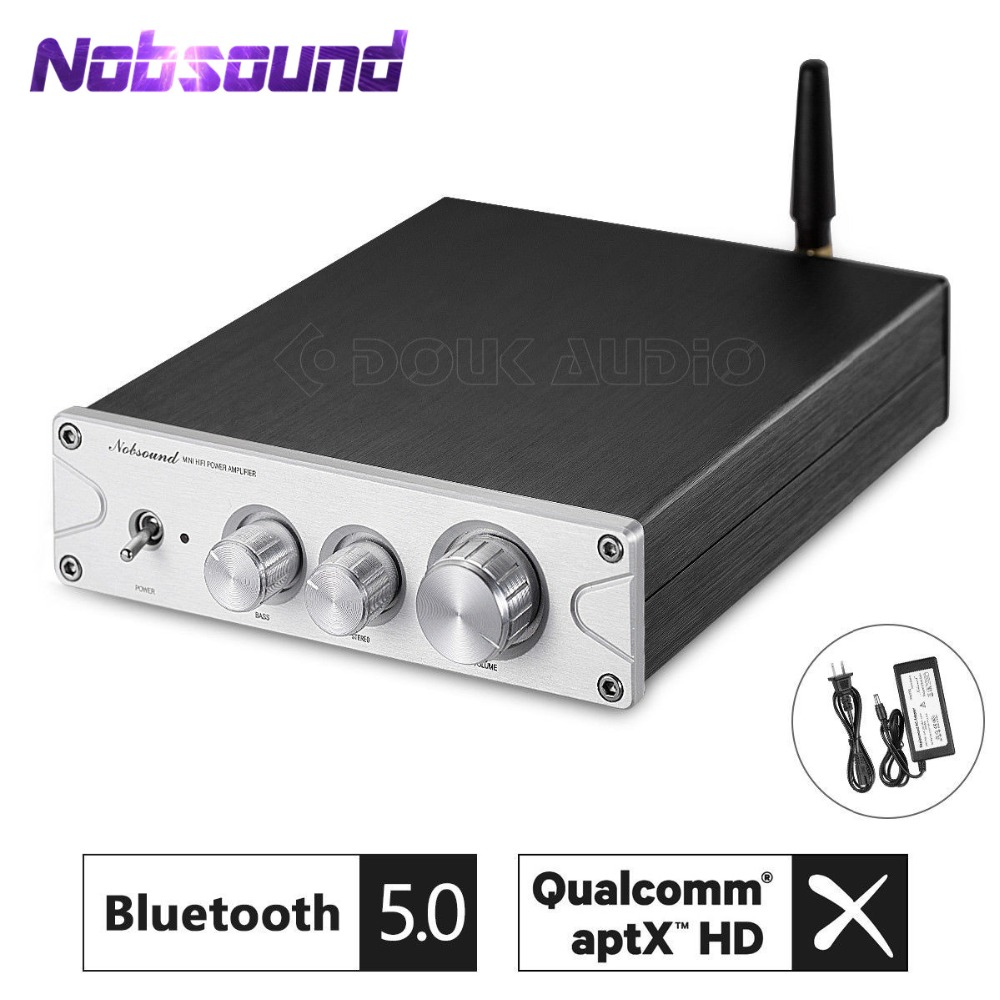 Nobsound CSR8675 Bluetooth 5.0 HiFi TPA3116*2 Power Amp Class D Stereo Digital Amplifier 100W+100W ATPX HD With Power Adapter nobsound mini tpa3116 digital power amplifier hifi stereo audio class d amp 2 0 channel 50w 2