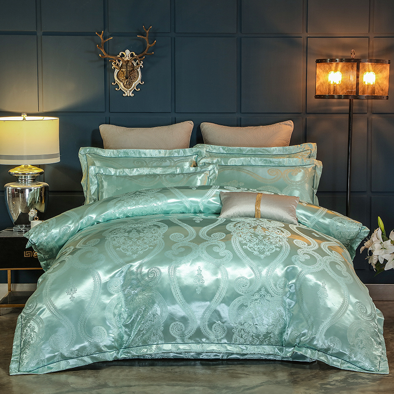 New Luxury Satin Jacquard Bedding Set Blue Green Queen King size Bed set Fitted sheet Bed sheet set Duvet cover ropa de cama