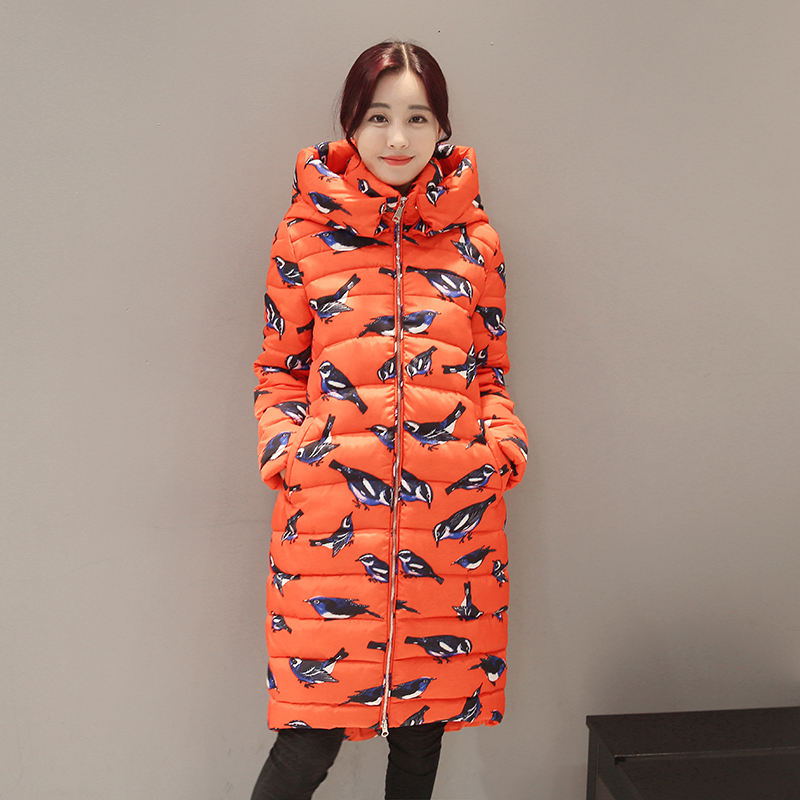 2017 Fashion Birdie Printed Cotton Jacket Women New Winter Coat Female Thick Warm Parkas Hooded Women's Long Jacket Casual Coat 2017 winter new cotton coat women long slim thick warm casual hooded badge pattern fashion jacket female fashion parkas