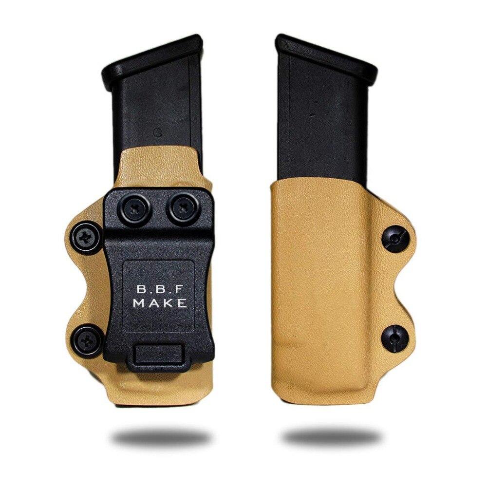 B.B.F MAKE faire IWB/OWB KYDEX étui pour Magazine Glock 9/40/357 étui pour pistolets Glock 17 Glock 19 26 22 23 27 31 32 33