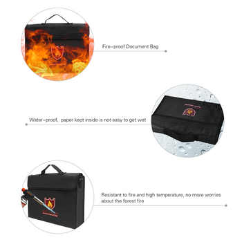 Fireproof Safety Bag Money Document File Bag Pouch Cash Bank Cards Passport Valuables Organizer Holder Safe Storage
