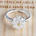 Mujeres Anillos de Platino Plateado anillo de Apertura Del Anillo Ajustable Fresco de Loto Flores Temperamento Joyería de Moda de Alta Calidad de 2 Colores